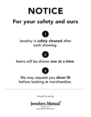 Safety signage for jewelers