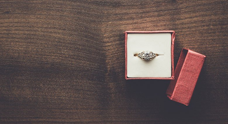 Vintage engagement ring in a box
